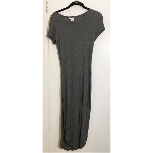 41f20252491 Dresses   Skirts - NWOT Charcoal Gray T-shirt Double Slit Maxi Dress